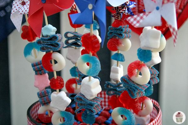 Patriotic Candy Skewers for Fourth of July
