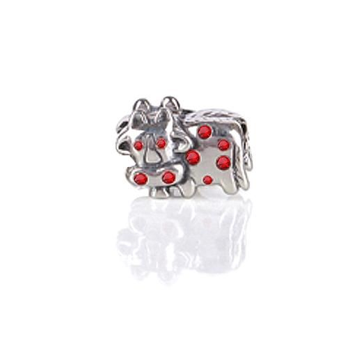Cow Animal CZ 925 Sterling Silver July Birthstone Bead Pandora Compatible