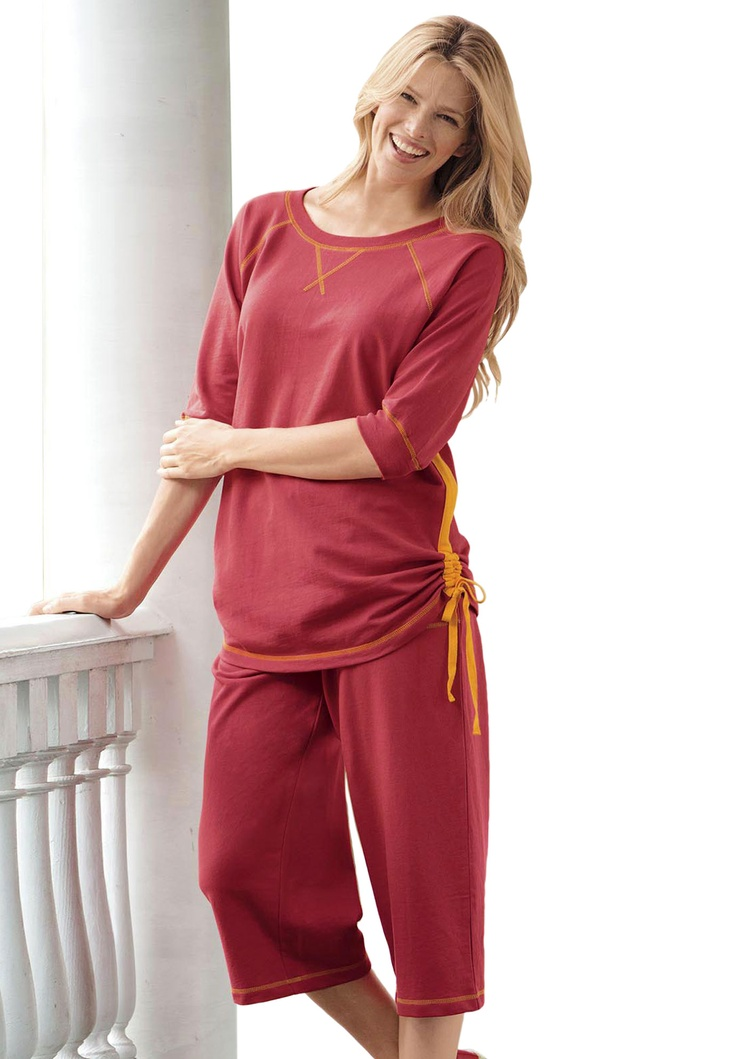 T-shirt and drawstring capri pants set in terry knit with contrast topstitching | Plus Size Casual Sets | Woman Within