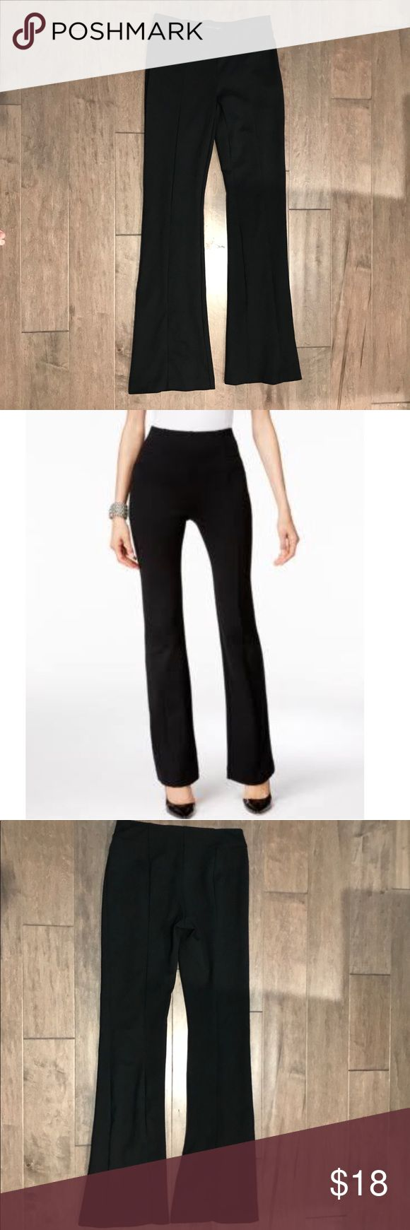 """INC Pull-on Bootcut Pants High rise: waistband sits at or above natural waist. Regular fit through hips and thighs. Bootcut leg. Pull-on styling. Approximate inseam: 33"""". Fabric Content: Rayon/nylon/spandex. Excellent like new condition. INC International Concepts Pants Boot Cut & Flare"""