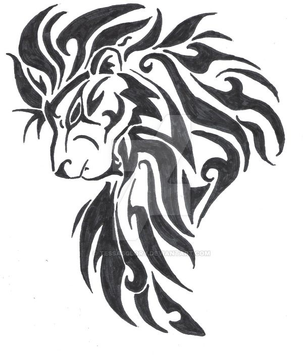 Large Tribal Lion Head Tattoo Design By Tessasglory