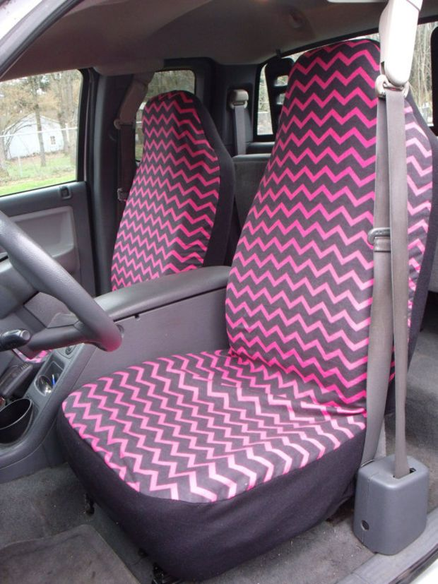 1 Set Of Pink Black Chevron Print Seat Covers Amd Pc Steering Wheel Cover