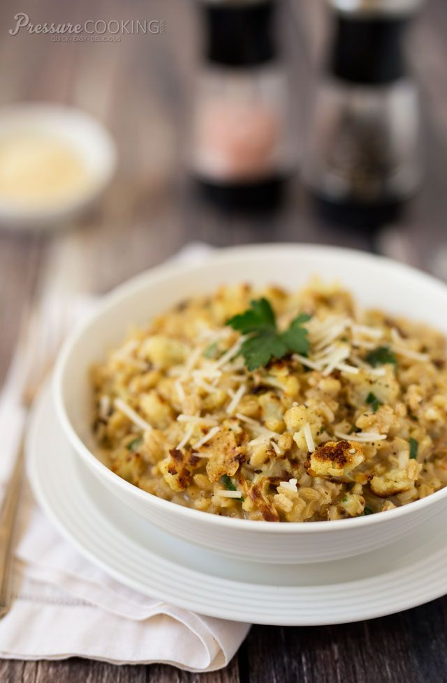 Pressure Cooker Roasted Cauliflower Barley Risotto with Parmesan Cheese