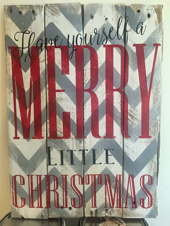 Merry Christmas Chevron Quote Reclaimed Wood Pallet Sign Home