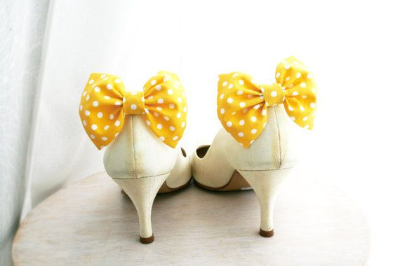 Yellow bow Shoe clips Polka dots Bow tie Shoe by maryankastudio, $10.00