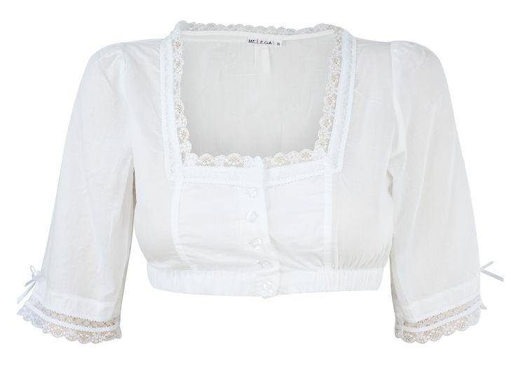 Dirndl blouse Melega Blanca Vual white - Melega - LAWANGO - Dirndl and Lederhosen Online Store