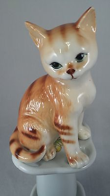 Adorable Vintage Porcelain Orange Tabby Kitten Figurine
