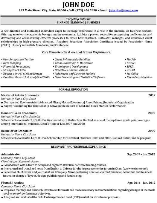 36 best Best Finance Resume Templates \ Samples images on - finance student resume