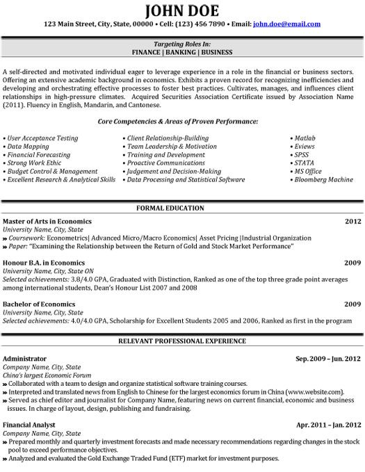 resume templates for banking