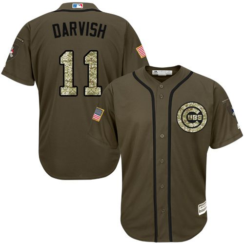 cubs 11 yu darvish green salute to service stitched mlb jersey rh in pinterest com