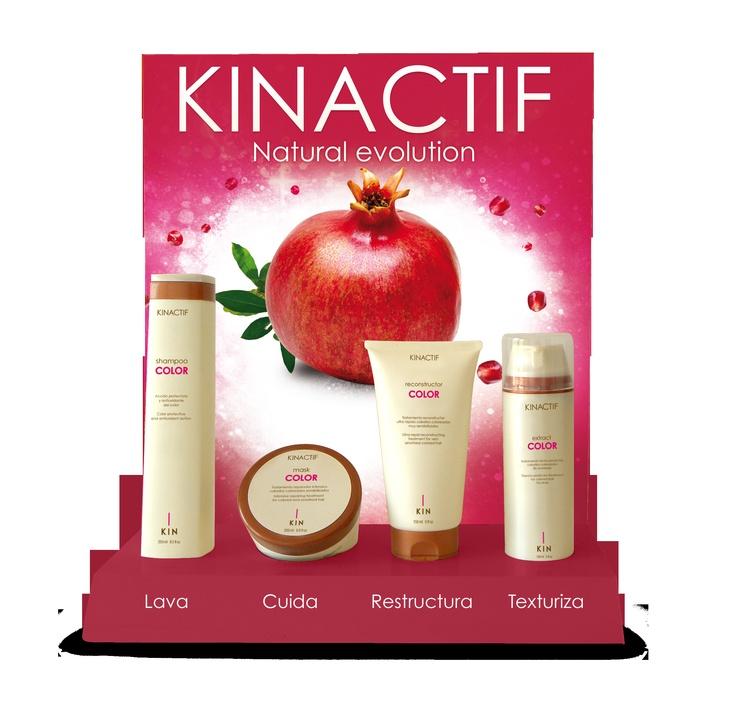 KINACTIF Color lijn, de optimale verzorging voor gekleurd haar. Op basis van granaatappelextract, vitamine E en UV-filter.