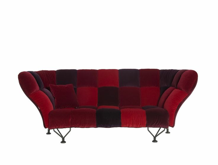 33 Cuscini by Paolo Rizzatto Three seater sofa Steel structure, curved steel legs and polyurethane foam padding. Loira velvet removable cover available in three colors: red, blue or gray tones