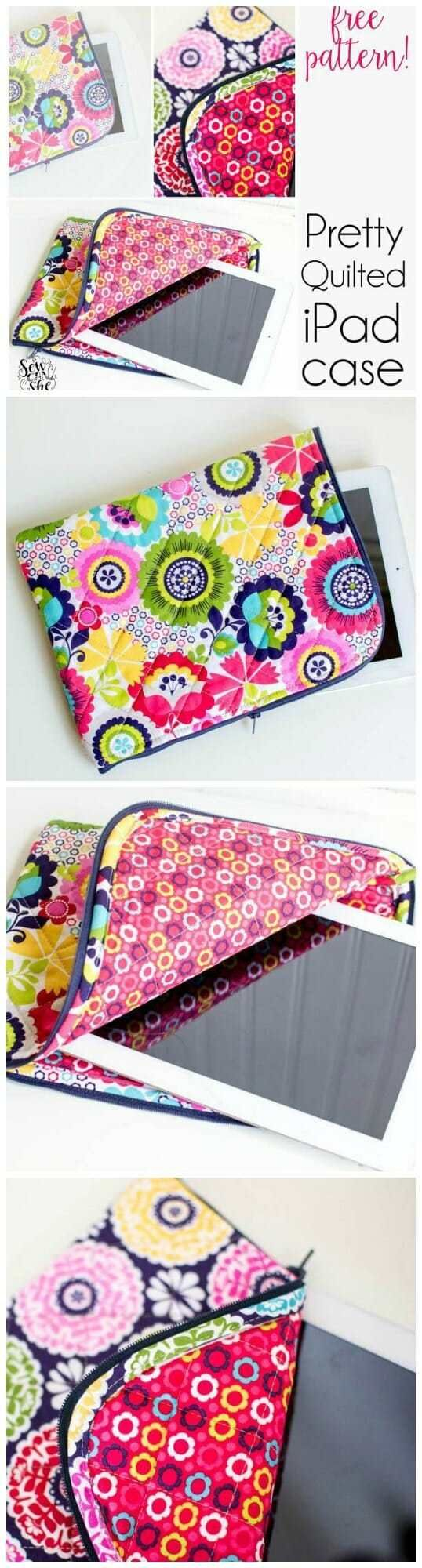 Pretty quilted IPad case – free pattern