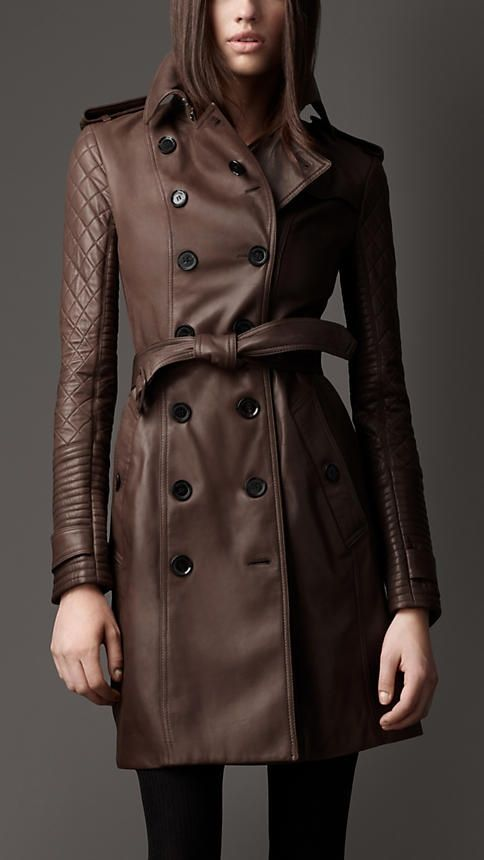 Long Leather Quilted Sleeve Trench Coat   Burberry