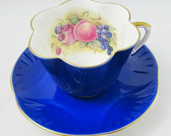 Crown Staffordshire Blue Tea Cup and Saucer with Fruit, Signed by Artist (Bailey), Vintage Tea Cup, English Bone China