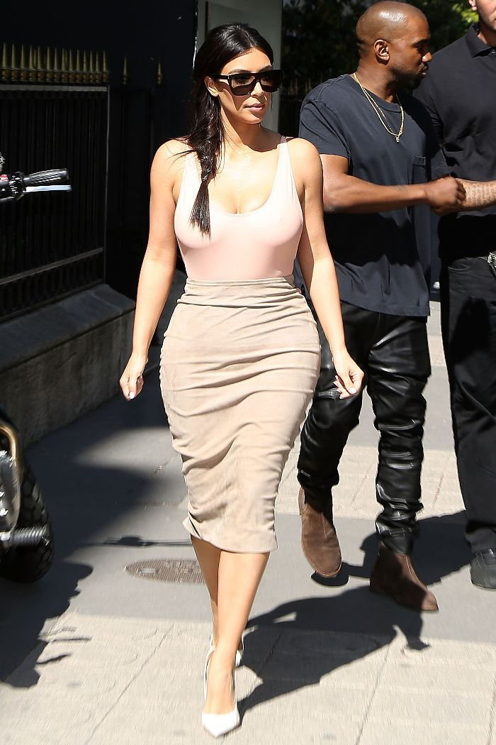 24adf0d4a 15 Reasons Everyone Needs a Leotard. leotard outfit kim kardashian pencil  skirt