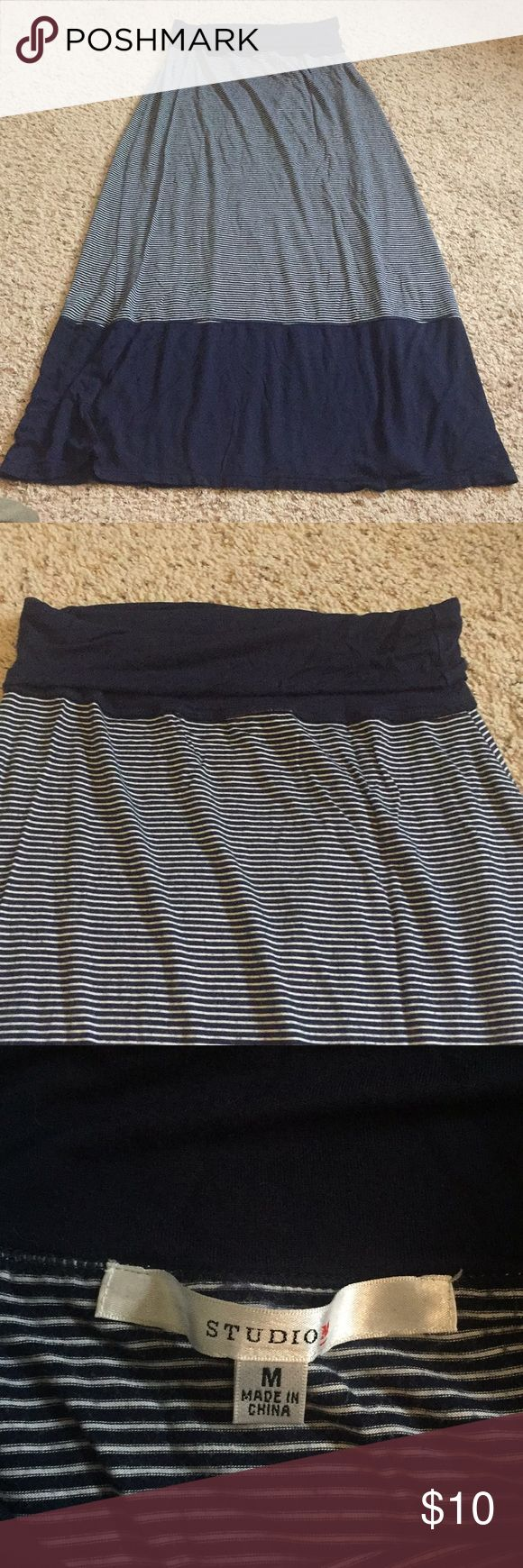Studio M navy and white stripped maxi skirt medium Studio M brand navy and white stripped maxi skirt. Size medium. Super cute, thicker fabric so it is not see through. Great paired with a plain white tee and a cute necklace! Studio M Skirts Maxi