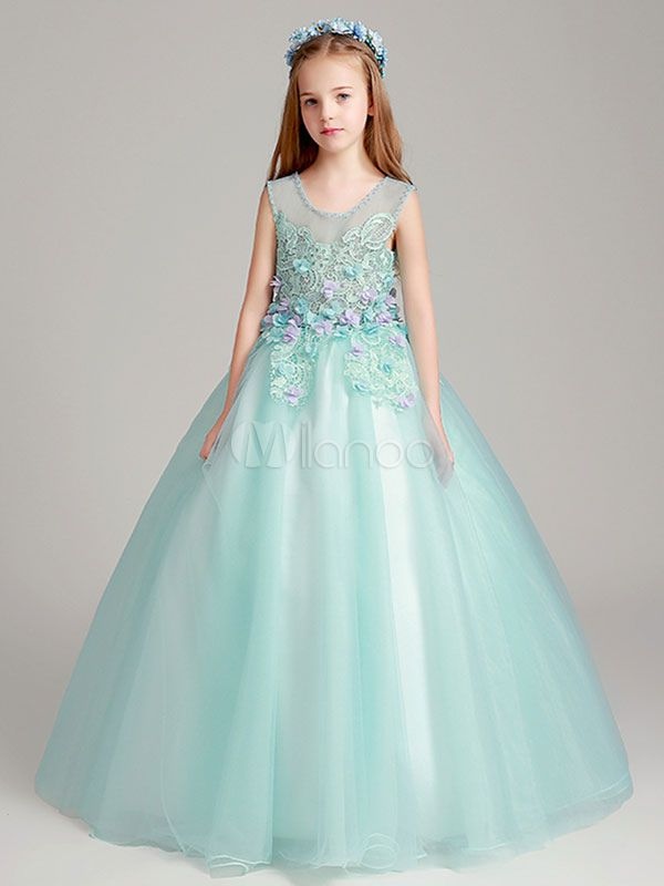 A-LINE Kid Long Applique Communion Pageant Birthday Flower Princess Girls Dress