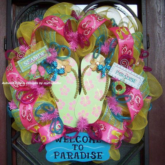 Flip Flops Welcome to Paradise Summer Beach Pool by myfriendbo, $80.00