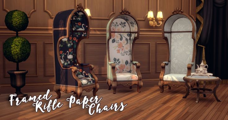 """hamburgercakes: """" Framed Rifle Paper Chairs True to my word, I've flora-fied this cute AF chair from the Vampires pack (which is required) in 20 swatches of Rifle Paper Co. goodness! All swatches have..."""