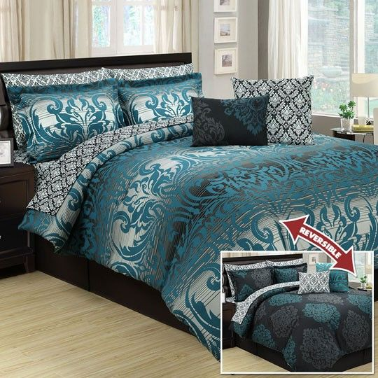 Marian Teal Ten 10 Piece Reversible Comforter Set Blue