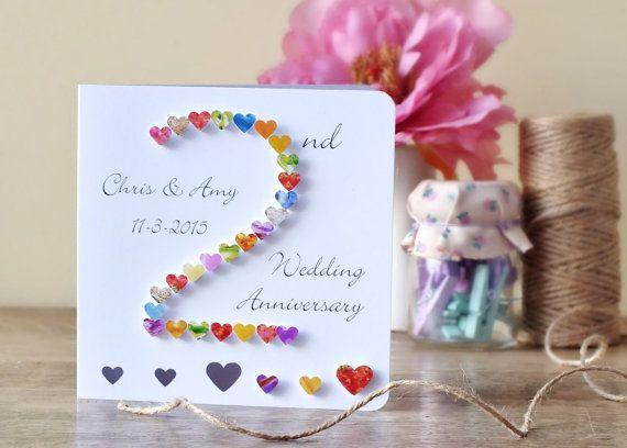 2nd Wedding Anniversary Card Handmade Personalised Second 2nd Etsy Anniversary Cards Handmade 2nd Wedding Anniversary Wedding Anniversary Cards