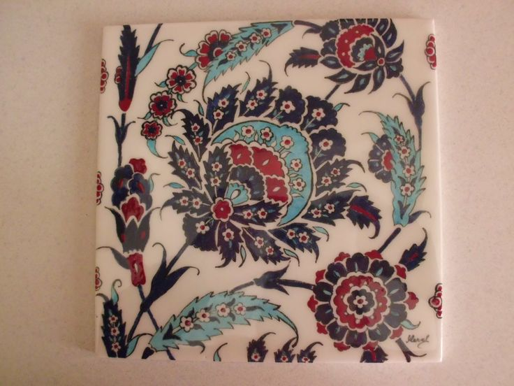 20x20 cm ceramic tile handmade by Meral