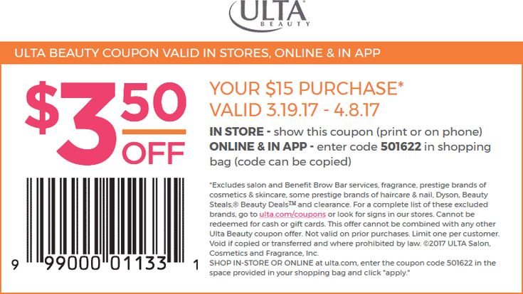 Pinned March 20th: $3 off $15 at #Ulta Beauty or online via promo code 501622 #TheCouponsApp