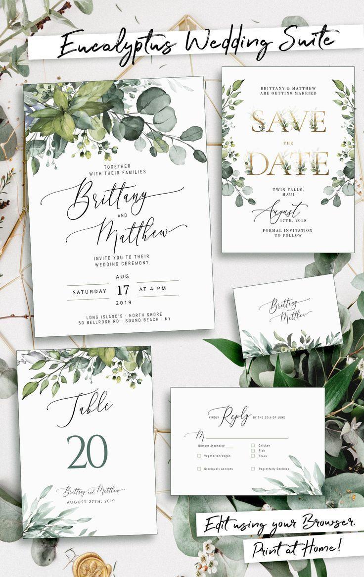 Eucalyptus Wedding Invitation Template Boho Suite With Greenery Signa In 2020 Wedding Invitations Boho Eucalyptus Wedding Invitation Boho Wedding Invitation Template