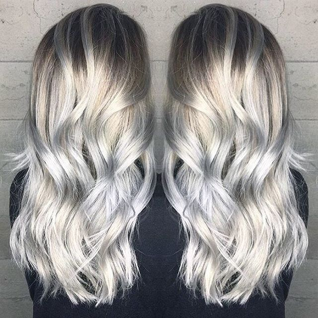 Image result for silver hair with blonde ombre