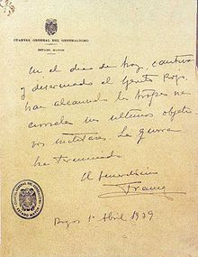 Último parte de la Guerra Civil Española - Wikipedia, la enciclopedia libre