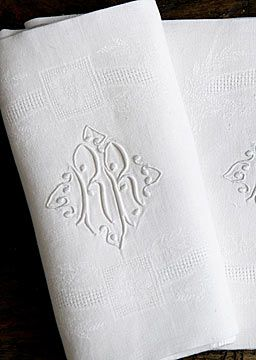 French Antique Embroidered Jacquard Napkins