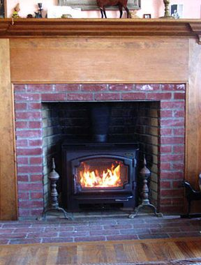 Free Standing Wood Stove In Fireplace Homestead