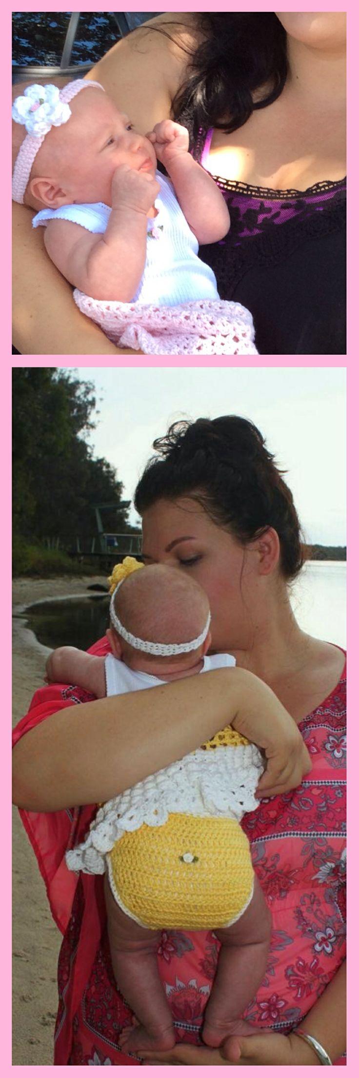 Beautiful Isla in her crochet baby outfit  all made in 100% Bendigo Woollen Mills Cotton Crochet Designz Instagram page