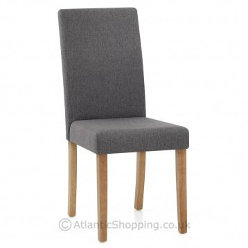 Columbus Oak Dining Chair is now available in charcoal fabric.