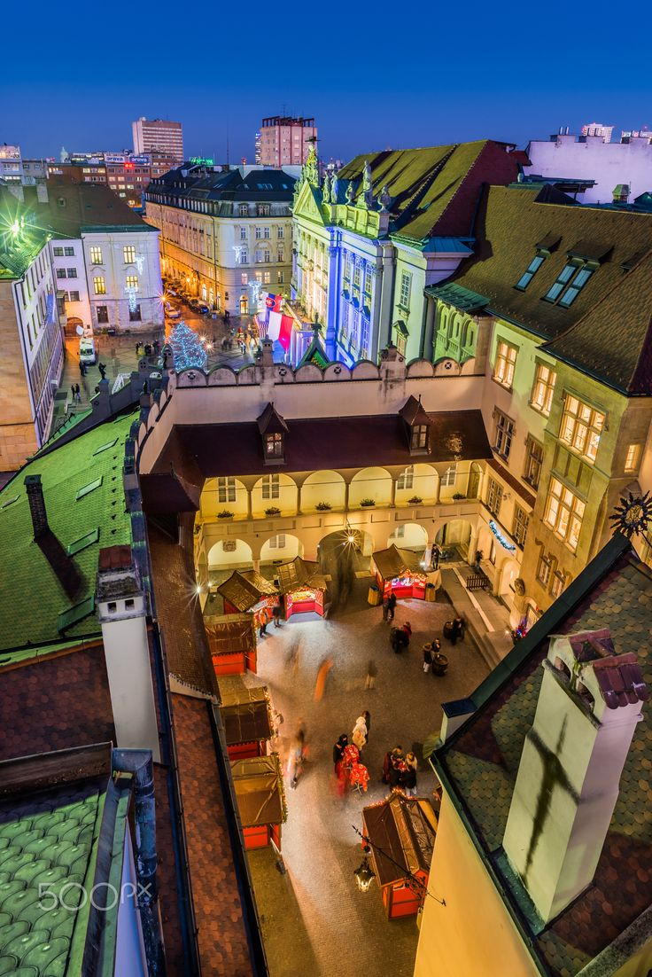 Colorful old town - Primate's palace (building with flags) on Primate's square, on the bottom you can see courtyard of the Old town hall.