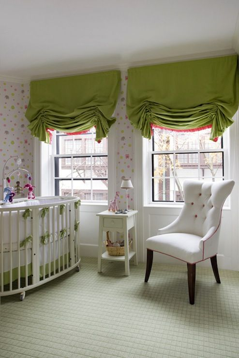 kate coughlin interiors adorable girl 39 s nursery design with pink and green wallpaper and pink. Black Bedroom Furniture Sets. Home Design Ideas