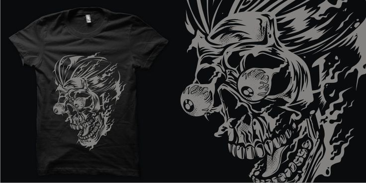 """Burning Greaser Skull"" t-shirt design by plaju"