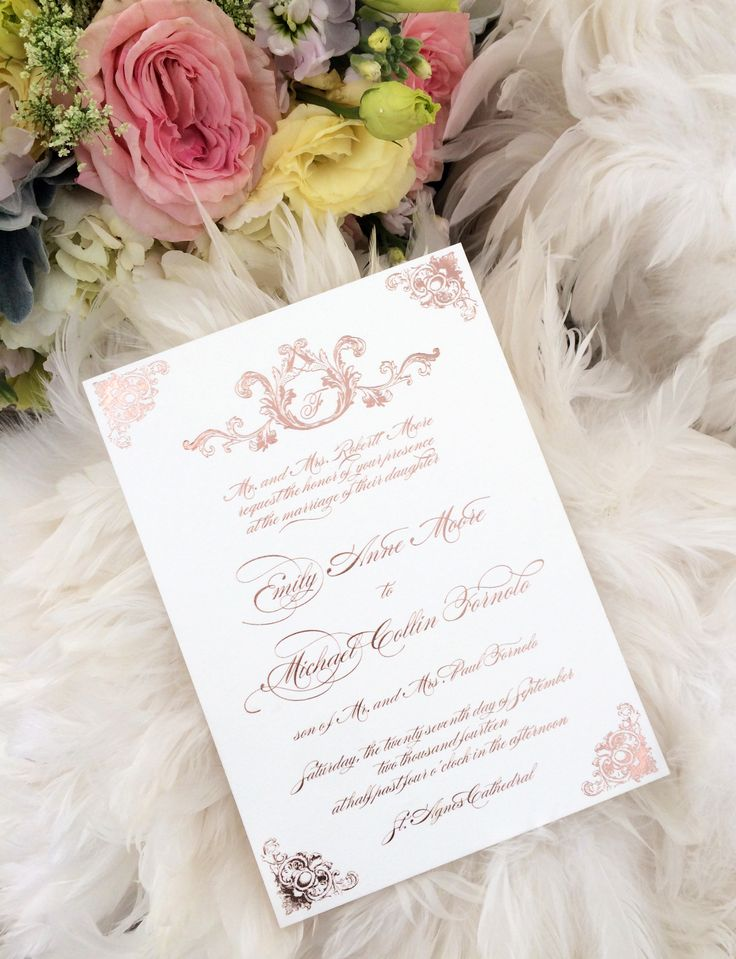 golden wedding invitations%0A Rose Gold Wedding Invitations  Gold Wedding Invitations  Foil Invitations