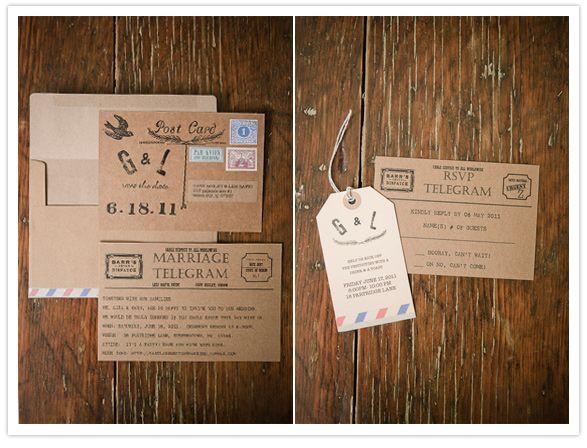 Vintage Stamps For Wedding Invitations: Wedding Invite: Vintage Telegram Style