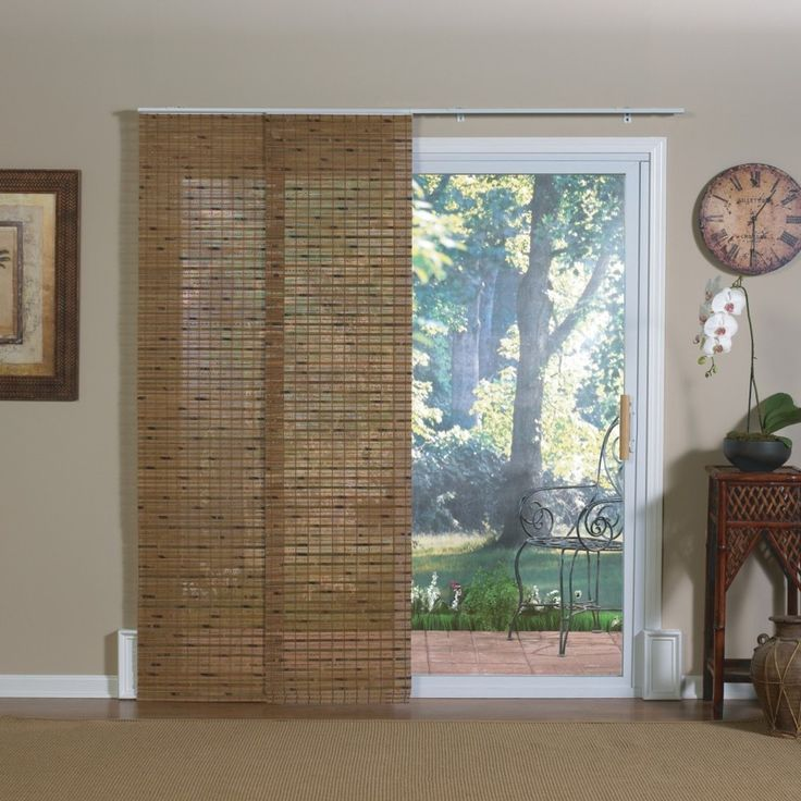 Pecan bamboo windows and patio doors track panels for Panel tracks for patio doors