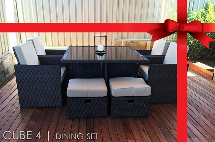 The Cube 4  setting is versatile and space saving. When not in use simply slide the ottomans underneath the chairs
