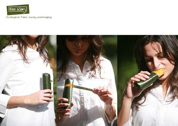 Réalisé avec des feuilles de bananier, Eco Way est un emballage destiné aux aliments à emporter.