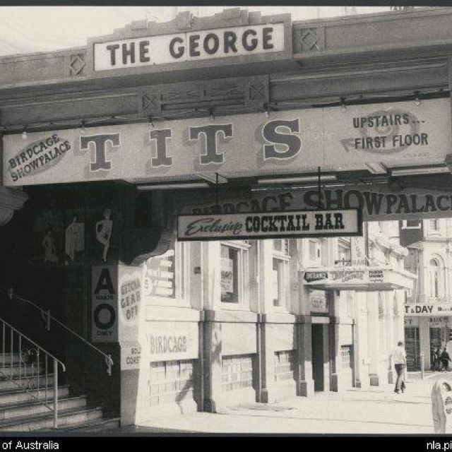The George Hotel, Fitzroy Street, St Kilda, during the 1970s On the no. 15 tram along Fitzroy St in the late 70's and early 80's on the way to school,my friends and I would chuckle at the signage on the George Hotel
