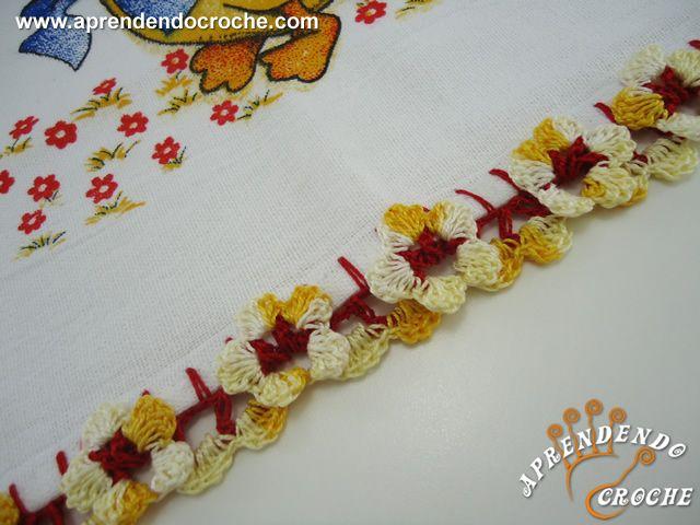 Bico de Crochê Florzinhas - Receita de Croche com o Passo a Passo no Link https://aprendendocroche.com/receitas-de-croche/video-aula.asp?resid=1108&tree=13