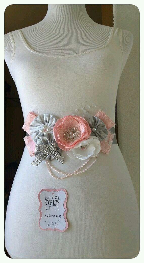 Cinto corsage rosa/gris