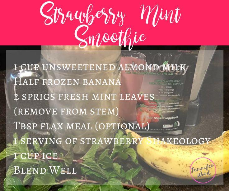 Strawberry Mint Smoothie #shakeology #superfoods  http://www.fb.com/jenniferwoodfitness