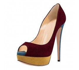 Onlymaker Women`s Fashion Peep Toe Platform Stiletto High Heels Pumps Slip On for Wedding Party Shoes