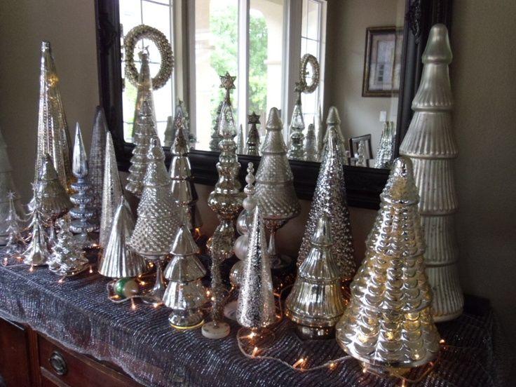 Mercury Glass Christmas Trees | Trees & topiary