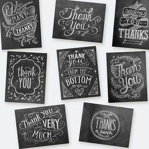 チョークアートのグリーティングカード 「Thank you」8種セット